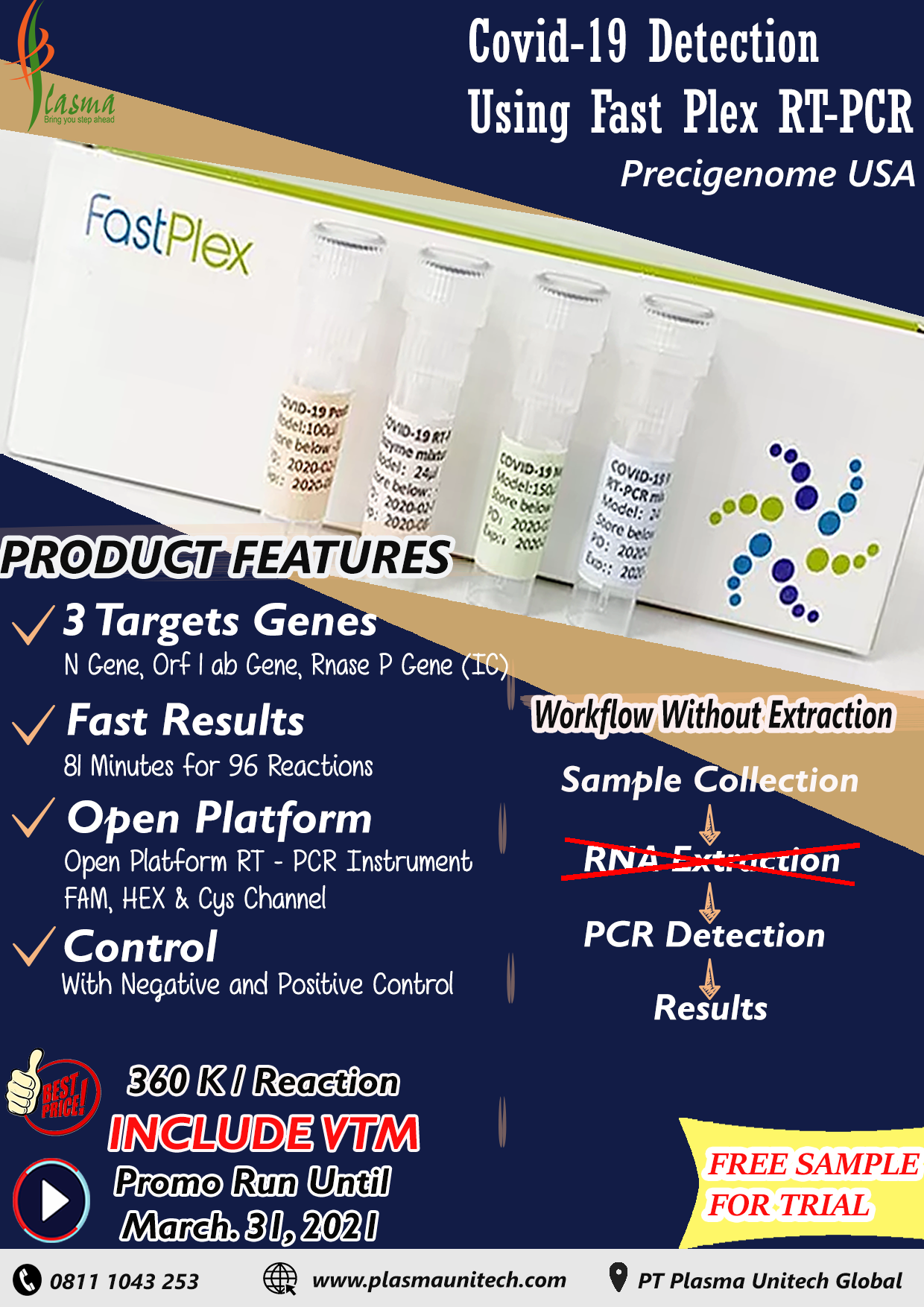 Covid-19 Detection Using Fast Plex RT-PCR WithOut Extraction
